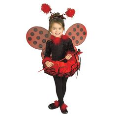 Girl's Lady Bug Toddler Costume Size: 3T, Black