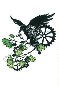 Clockwork Raven - steampunk mechanical 4x6 art print - summer cycle. $6.00, via Etsy.