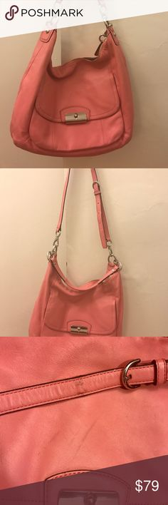 """COACH large pink Kristin Leather Hobo crossbody Pre-loved authentic Coach hobo with detachable cross-body strap. Signs of wear as pictured.    A spacious and well-organized design in smooth, supple leather accented with lovely chain-link hardware and a delicate Art Deco clasp.  Leather. Inside zip, cellphone and multifunction pockets. Zip-top closure. Fabric lining. Outside front pocket. Handle with 8.5"""" drop. Longer strap for shoulder or cross-body wear with 22"""" drop.  Approximately…"""