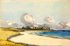 Marcel Mettenhoven 1891-1979 Paysage côtier du Morbihan  aquarelle 1928 35x53