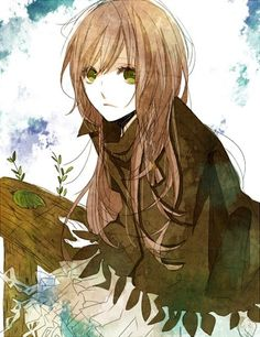 Anime Manga Girl Mädchen grüne Augen ... Winter ... braune Haare ...