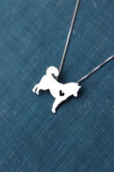 Husky necklace sterling silver hand cut pendant by JustPlainSimple