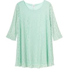 Monki Marianne dress ($11) ❤ liked on Polyvore featuring dresses, tops, shirts, blouses, mint kisses, lace summer dress, mint green lace dress, green sleeve dress, monki and lace dress