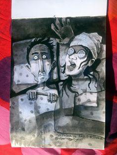 Ok, of course,  i love groomed woman but face mask is making me scared shitless #inktober / #inktober2016 - Day 13 - Theme: #SCARED.....#cartoon  #sketch #eskiz #illustration #illüstrasyon #ink #mürekkep #fırça #brush #october #drawing #çizim #instagood #instaart #inkwash #cartoon #art #doodle #bed #night #intimidating #facemask #beauty