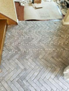tile flooring Entry Progress: Herringbone Brick Tile Floors House For Six Brick Tile Floor, Ceramic Floor Tiles, Brick Flooring, Bathroom Floor Tiles, Kitchen Floor, Rustic Tile Flooring, Wood Backsplash, Flooring Tiles, Modern Bathroom