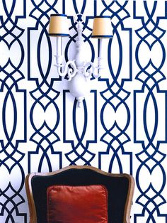 Eddie Ross: Amazing vignette with Antonina Vella Dolce Vita Wallpaper in Navy Blue, vintage double ...