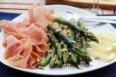tind spekeskinke, asparges og sitronsmør