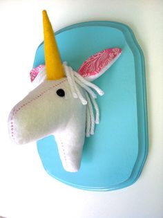Unicorn felt taxidermy/faux taxidermy/trendy by SquackDoodle, $45.00