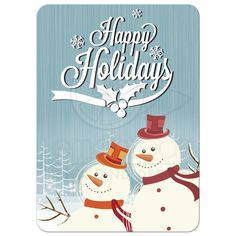 Happy Snowmen Photo Template Holiday Greeting Card - photo on back