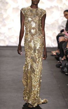 Gold Sequin Gown by Naeem Khan for Preorder on Moda Operandi