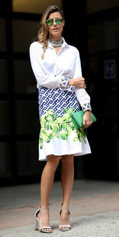 #NYFW Spring 2015 Street Style | Classic white shirt with flared hem printed skirt Via IMAXTREE