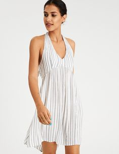 6aeef2007b81 AE Striped Button-Front Culotte Jumpsuit by American Eagle ...