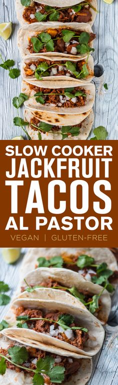 These Slow Cooker Jackfruit Tacos Al Pastor are super easy and delicious—and vegan/gluten-free!