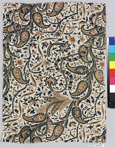 French Paisley Print | 1700s Textile Date: 18th century Culture: French (?) Medium: Cotton Dimensions: L. 16 x W. 11 1/2 inches 40.6 x 29.2 cm Classification: Textiles-Pri...