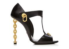 PARTY HEELS - not exactly the 2012 chain's by Tom ford that Kim K wore in Versailles ( like that touch: something old, something new...) but close: Leather T-Strap Sandal with Chain Heel | Shop Tom Ford in his Online Store