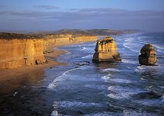Australia The Great Ocean Road is most famous for the Twelve Apostles, huge pillars of limestone rising from the surf. (Courtesy Tourism Australia) From: Great Coastal Drives.