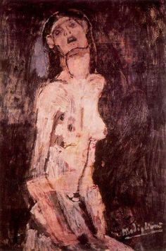 'A leiden Nackt', öl auf leinwand von Amedeo Modigliani (1884-1920, Italy)