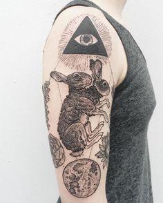 Rabbit Tattoo Sexy Tattoos, Black Tattoos, Body Art Tattoos, Sleeve Tattoos, Cool Tattoos, Tatoos, Tattoo Life, Tattoo Motive, Bunny Tattoos