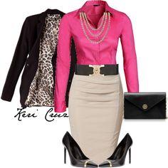 My fav's together! pink, leopard print & pointed toe black pumps....