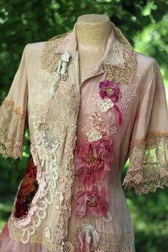 Blushing roses - -bohemian romantic jacket, floaty blouse,altered couture, embroidered and beaded details,vintage textiles