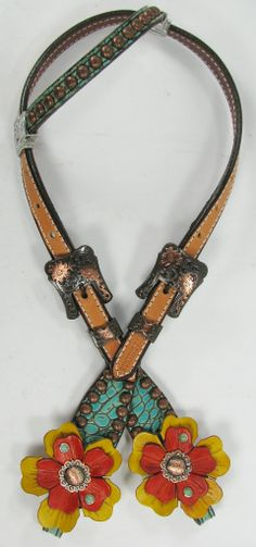 Turquoise Gator GAG BIT Headstall with Leather Flowers by Running Roan Tack
