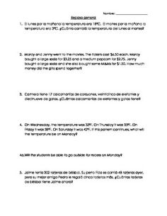 This is a set of ten math word problems. The questions alternate between English and Spanish; this is a great assignment for a bilingual, immersion (dual or one-way), or ESL class. The review questions include:-temperature-money-elapsed time-fractions-patterns-addition and subtraction-multiplication and division(At the time I created this, it was a great review for the 3rd grade TAKS.)