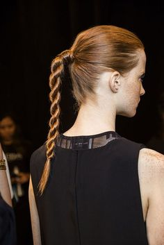 Backstage at power braids were a-plenty at their Spring/Summer 2016 show. Easily recreate this hairstyle by twisting two sections of the ponytail in opposite directions, wrapping them around each other, securing with an elastic and using Gym Hairstyles, Summer Hairstyles, Braided Hairstyles, Fashion Hairstyles, Wedding Hairstyles, Twist Ponytail, Hair Game, Glamour, Prom Hair