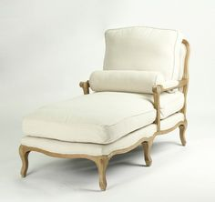 Chaise Longue With Natural Oak Wood Finish - - French Country & Salvaged Wood Lounge Furniture, Painted Furniture, French Country Style, Country Charm, European Style, French Country Furniture, Style Lounge, Wholesale Furniture, Salvaged Wood