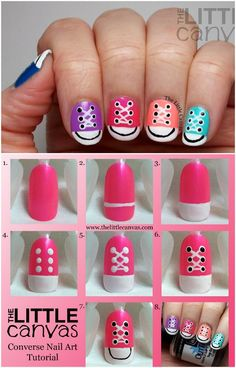 8fb2e74ce6c6 Sneaker Nail Art Manicure Design - DIY Pink Converse Nail Art Tutorial Diy  Manicure