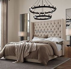 Tall-wingback-headboard-bed-frame-chesterfield-style-cream-brown-double-kingsize