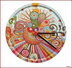 Colorfull clock from metallic cap! www.facebook.com/pinelokallitexnimata Metallic, Clock, Cap, Facebook, Painting, Watch, Baseball Hat, Painting Art, Clocks