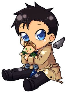 Just the cutest thing ever. Castiel holding Dean. Supernatural Chibi Castiel by Niji-Panda