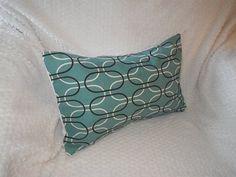 Turquoise Geometric Print Lumbar Pillow Cover by SewCustomDesigns, $18.00