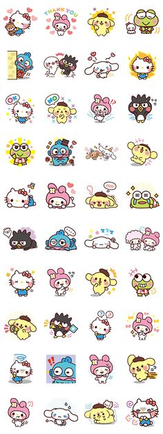 The popular characters from the Sanrio Character Ranking are back! Use these adorable stickers and expressions to bring smiles to everyone! Sanrio Characters, Cute Characters, Hello Kitty Characters, Kawaii Stickers, Cute Stickers, Kawaii Drawings, Cute Drawings, Kawaii Art, Kawaii Chibi