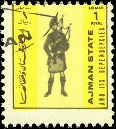 ~ Stamp No. 122: Ajman ~ Scott Catalogue No. Pending This is a tiny little stamp, barely bigger than a thumbnail. The piper seems to have been deprived of one of his tenor drones, perhaps in the interest of saving space.