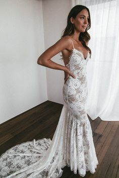 This mermaid silhouette is the dress of your dreams. Clo is finished with exquisite eyelash detailing around the neckline, low back and hem. Wedding Dresses Photos, Dream Wedding Dresses, Designer Wedding Dresses, Wedding Gowns, Lace Wedding, Party Gowns, Wedding Wear, Wedding Pics, Rustic Wedding