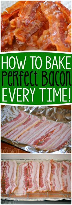 Baking Bacon - Everybody loves bacon, right? Let me show you how to make PERFECT bacon every time - you'll never make it another way again! How to Bake Bacon for the most perfect bacon you've ever seen! Step by step instructions make this so easy - restaurant quality bacon is just an oven away! // Mom On Timeout #bacon #recipe #baking #breakfast #brunch...