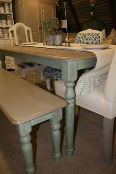 to do to new farm table find.. since the table top was painted white before.. and I can't sand to get original color of wood a great idea to paint the chair seats and table top this color..