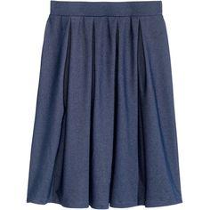 Wide-cut Skirt $29.99 (195 DKK) via Polyvore featuring skirts, blue pleated skirt, blue jersey, jersey knee length skirt, knee high skirts and blue knee length skirt