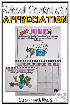 Show your school secretary that you appreciate all they do all year long with this calendar. Print, have your student's color and complete the pages and bind Life Skills Classroom, Teaching Social Skills, Teaching Language Arts, Special Education Classroom, Teaching Math, Teaching Resources, Elementary School Counseling, School Counselor, Elementary Schools