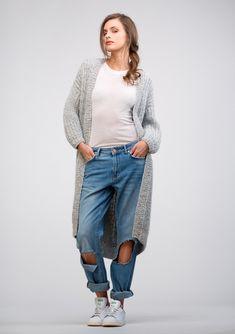 Modell 2 Lang jakke i halvpatent Maxi Cardigan, Crochet Cardigan, Knit Crochet, Knit Jacket, Mantel, Tweed, Sweaters For Women, Normcore, Cardigans