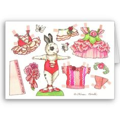 Valentine Bunny paper doll card on Zazzle Paper Puppets, Paper Toys, Paper Crafts, Paper Art, Cardboard Crafts, Foam Crafts, Kids Crafts, Paper Doll House, Paper Houses