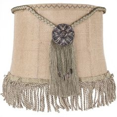 Brandi Renee Designs - All Lit Up Outback 2 Lampshade - Rustic burlap with gold medallion fringed centerpieces and bronze scalloped ribbon.