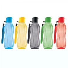 Tupperware Small Eco Water Bottle Plus Strap Set:          Be a back to school champion with this sporty set—one for every member of the family!  16-oz./500 mL water bottles each includes exclusive carry strap. Set of five bottles includes one in each color: Azure, Sunflower, Black, Prairie and Fire. Carry Strap is a 30-Day Warranty. Remove Carry Strap before washing Water Bottle.
