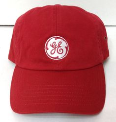 New GENERAL ELECTRIC HAT Darker-Red/White GE Logo Relaxed-Fit Cotton Men/Women #GeneralElectric #BaseballCap