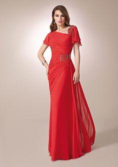 ZEILA DONNA 9291  Vestido de fiesta largo en chiffón, con detalles metálicos