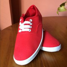 ❤️ Red Canvas Sneakers. NWOT. Red canvas sneakers. If you have questions, please ask. Charlotte Russe Shoes Sneakers