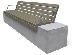 Contemporary public bench in wood and concrete (with backrest) 1109 2111 Miramondo