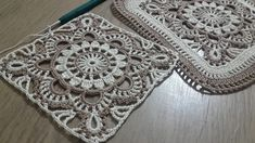 Crochet Knit Square Lace Making, One piece coffee table cloth with colorful threads & Crochet doily 2 - Knitting Crochet Placemat Patterns, Crochet Square Patterns, Crochet Blocks, Crochet Tablecloth, Crochet Squares, Crochet Designs, Crochet Doilies, Thread Crochet, Crochet Stitches