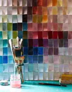 Paint chip wall! I want to make an art room and do this!